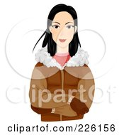 Royalty Free RF Clipart Illustration Of A Beautiful Eskimo Woman Wearing A Jacket And Gloves by BNP Design Studio