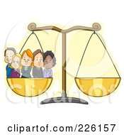 Royalty Free RF Clipart Illustration Of A Diverse Business Team On One Side Of The Scale by BNP Design Studio