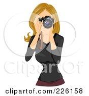Beautiful Woman Taking Photographs