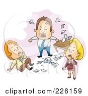 Royalty Free RF Clipart Illustration Of A Mad Boss Screaming At His Staff