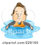 Royalty Free RF Clipart Illustration Of A Businessman Floating In Water With A Life Vest