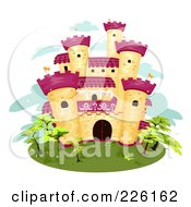 Royalty Free RF Clipart Illustration Of A Yellow Brick Castle With Purple Towers On An Island