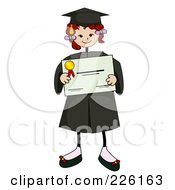 Royalty Free RF Clipart Illustration Of A Stick Girl Graduate Holding A Certificate