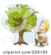 Royalty Free RF Clipart Illustration Of A Businessman Picking Money From A Tree by BNP Design Studio