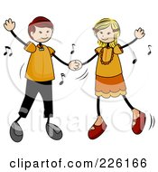 Royalty Free RF Clipart Illustration Of A Stick Boy And Girl Dancing To Music