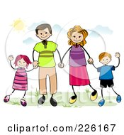 Royalty Free RF Clipart Illustration Of A Stick Family Holding Hands And Waving Outdoors