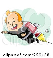 Royalty Free RF Clipart Illustration Of A Businessman Launching Off With A Rocket by BNP Design Studio