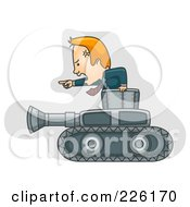 Royalty Free RF Clipart Illustration Of A Businessman Moving Forward With A Military Tank