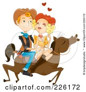 Royalty Free RF Clipart Illustration Of A Wild West Couple Riding A Horse by BNP Design Studio