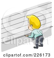 Royalty Free RF Clipart Illustration Of A Businessman Opening Or Closing A Storefront Or Storage Unit Door