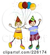 Royalty Free RF Clipart Illustration Of A Stick Boy And Girl With Party Balloons