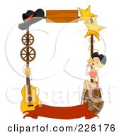 Royalty Free RF Clipart Illustration Of A Wild West Frame Of Barrels A Girl Stars Hat Wheels And Guitar With A Blank Banner by BNP Design Studio