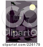 Royalty Free RF Clipart Illustration Of A Haunted Castle In The Moonlight by BNP Design Studio