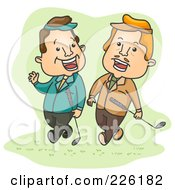 Royalty Free RF Clipart Illustration Of Two Businessmen Talking And Playing Golf by BNP Design Studio