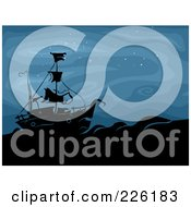 Royalty Free RF Clipart Illustration Of A Spooky Ghost Ship At Sea During The Night by BNP Design Studio