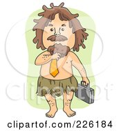 Royalty Free RF Clipart Illustration Of A Business Caveman Adjusting His Tie And Carrying A Briefcase