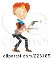 Royalty Free RF Clipart Illustration Of A Wild West Cowboy Shooting Two Pistols by BNP Design Studio