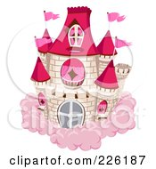 White Brick Castle With Red Turrets And Pink Flags On A Pink Cloud