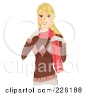 Royalty Free RF Clipart Illustration Of A Beautiful Woman Dressed In Warm Winter Clothes by BNP Design Studio