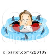 Royalty Free RF Clipart Illustration Of A Stressed Businessman Surrounded By Circling Sharks by BNP Design Studio