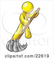 Clipart Illustration Of A Yellow Man Wearing A Tie Using A Mop While Mopping A Hard Floor To Clean Up A Mess Or Spill