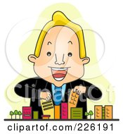Royalty Free RF Clipart Illustration Of A Realtor Arranging Toy Buildings
