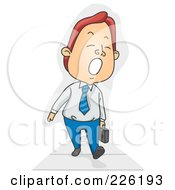 Royalty Free RF Clipart Illustration Of A Businessman Yawning And Walking To Work by BNP Design Studio