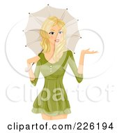 Royalty Free RF Clipart Illustration Of A Beautiful Woman In A Green Dress With A Parasol by BNP Design Studio
