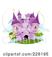 Royalty Free RF Clipart Illustration Of A Purple Stone Castle On An Island