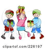 Royalty Free RF Clipart Illustration Of A Stick Girl And Boys Carrying Christmas Presents