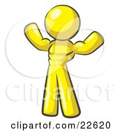 Clipart Illustration Of A Yellow Bodybuilder Man Flexing His Muscles And Showing The Definition In His Abs Chest And Arms