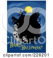 Happy Halloween Greeting Under A Globe With Ghosts On Blue