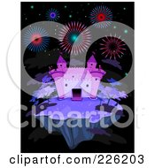 Royalty Free RF Clipart Illustration Of A Fireworks Over A Purple Castle On A Floating Island At Night