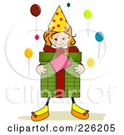 Royalty Free RF Clipart Illustration Of A Stick Girl Carrying A Birthday Present