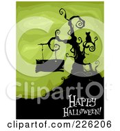 Royalty Free RF Clipart Illustration Of A Happy Halloween Greeting Under A Bare Tree With A Cat And Blank Sign On Green