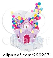 Royalty Free RF Clipart Illustration Of A Party Castle On A Cloud With Party Balloons And A Blank Banner by BNP Design Studio