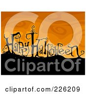 Royalty Free RF Clipart Illustration Of A Happy Halloween Greeting On A Hill Over Orange by BNP Design Studio