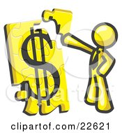 Clipart Illustration Of A Yellow Businessman Putting A Dollar Sign Puzzle Together by Leo Blanchette