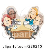 Royalty Free RF Clipart Illustration Of A Couple During A Divorce Meeting