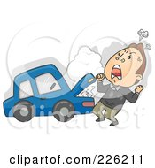 Royalty Free RF Clipart Illustration Of A Man Screaming By His Broken Down Car