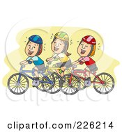Royalty Free RF Clipart Illustration Of A Group Of Bicyclists