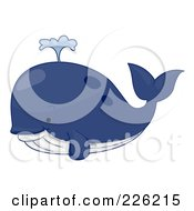 Royalty Free RF Clipart Illustration Of A Cute Blue Whale by BNP Design Studio