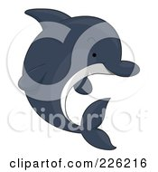 Royalty Free RF Clipart Illustration Of A Cute Dark Dolphin by BNP Design Studio