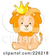 Royalty Free RF Clipart Illustration Of A Cute Lion Sitting And Wearing A Crown by BNP Design Studio