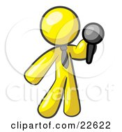 Clipart Illustration Of A Yellow Man A Comedian Or Vocalist Wearing A Tie Standing On Stage And Holding A Microphone While Singing Karaoke Or Telling Jokes by Leo Blanchette