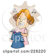 Royalty Free RF Clipart Illustration Of A Mad Woman Discovering A Lipstick Stain On Her Husbands Shirt