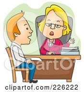 Royalty Free RF Clipart Illustration Of A Man Applying For A Loan by BNP Design Studio