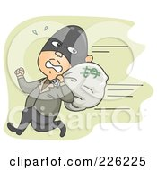Royalty Free RF Clipart Illustration Of A Robber Running Away With A Money Bag