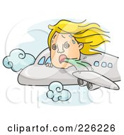 Royalty Free RF Clipart Illustration Of A Woman Puking Out Of An Airplane Window