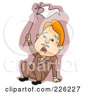 Royalty Free RF Clipart Illustration Of A Stressed Man Waving A White Flag
